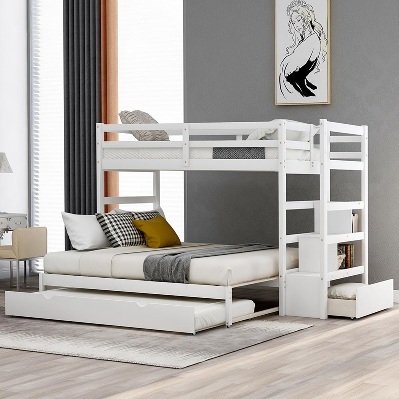 Solid Wood Bunk Bed for Kids Hardwood Twin Over Twin Bunk Bed with Trundle and Staircase
