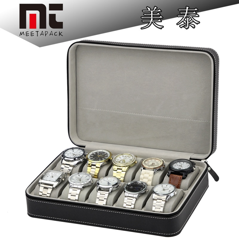 Caja de reloj de lujo de 10 rejillas de alta calidad de cuero de PU con soporte de reloj de pulsera con soporte de caja de cremallera para relojes