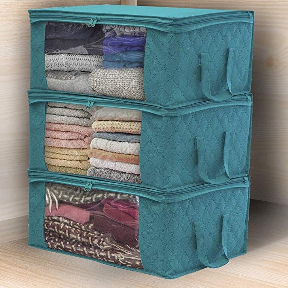 Caja organizadora de almacenamiento de ropa familiar no tejida, colcha, almohada, bolsa de almacenamiento, ahorro de espacio, bolsa clasificadora a prueba de humedad