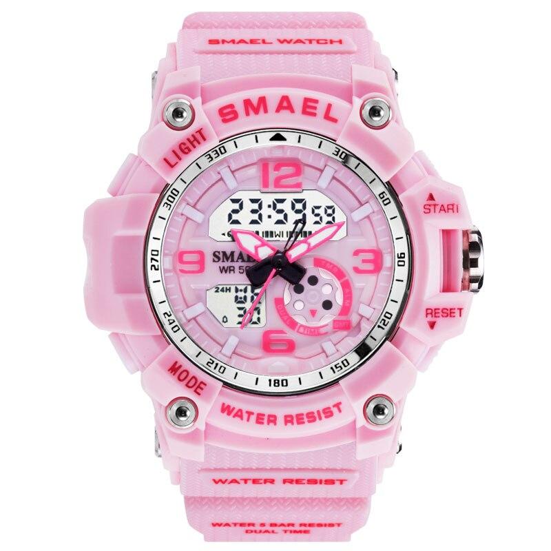 Relojes SMAEL para mujer, relojes deportivos para exteriores, relojes de cuarzo analógicos digitales de doble pantalla a la moda para mujer, resistente al agua 50M