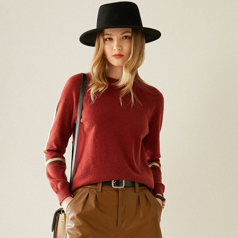 Tailor Shop Custom Made Half Turtleneck Stitching Cashmere Sweater Ladies Loose Pullover Short Sweater Knitted Bottoming Shirt enlarge