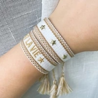friendship bracelets saying good vibes cest la vie woven arm stacked bracelet fashion jewelry gift for mom sis couples