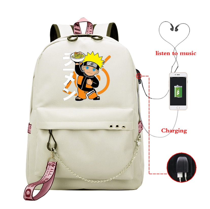 Naruro chica bolso mochila portátil impermeable Nyoln marca de carga Usb mochila Anime Naruro de viaje mochila