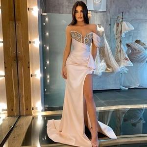 Sexy Prom Dresses Slide Split Beading Sweetheart Sleeveless Zipper A-Line Gowns Novia Do 2021 New Party
