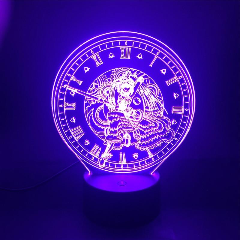 3D Lamp Kurumi Date A Live The Alarm Clock Base Atmosphere for Birthday Decoration Battery Powered Usb Led Night Light Lamp