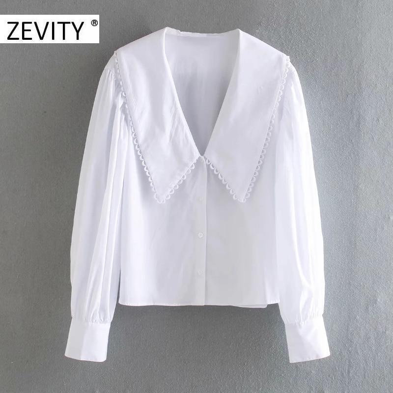 ZEVITY women sweet peter pan collar lace stitching casual poplin blouse shirts women puff sleeve white chemise chic tops LS7201