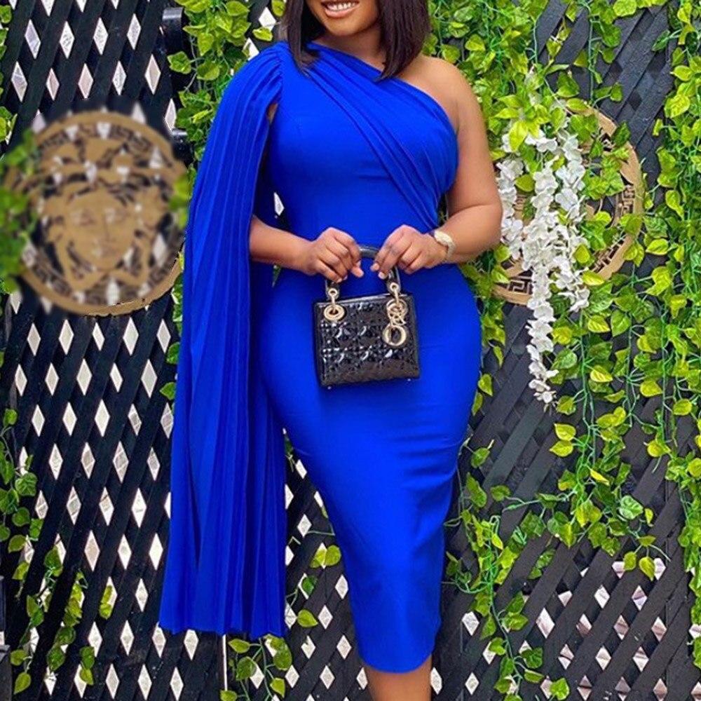 2021 One Shoulder Party Dress Women Sexy Cloak Sleeve Designer Bodycon Elegant Evening Dresses African Robe Midi Vestiods Robe