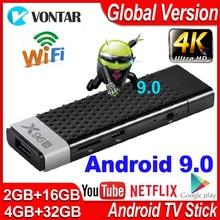 X96s Smart TV Box Android 9.0 TV Stick 4GB RAM DDR3 Mini Dongle TV Amlogic S905Y2 2.4G & 5G Wifi BT4.2 60fps 4K TVBOX lecteur multimédia