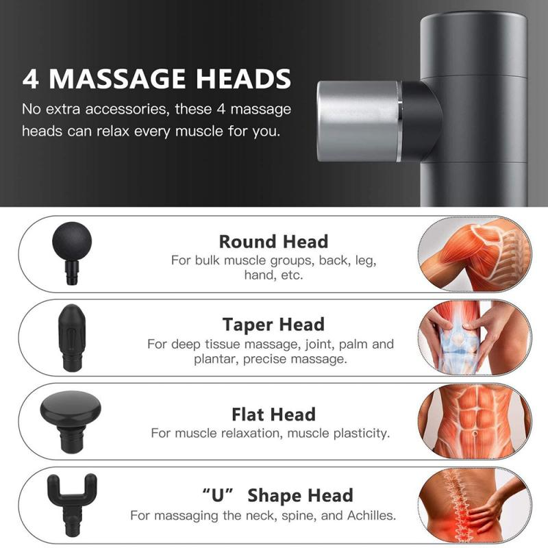 Mini Massage Gun Deep Muscle Vibration Relief Pain Relax Fitness Equipment Noise Reduction Design 4 Massage Heads Massager