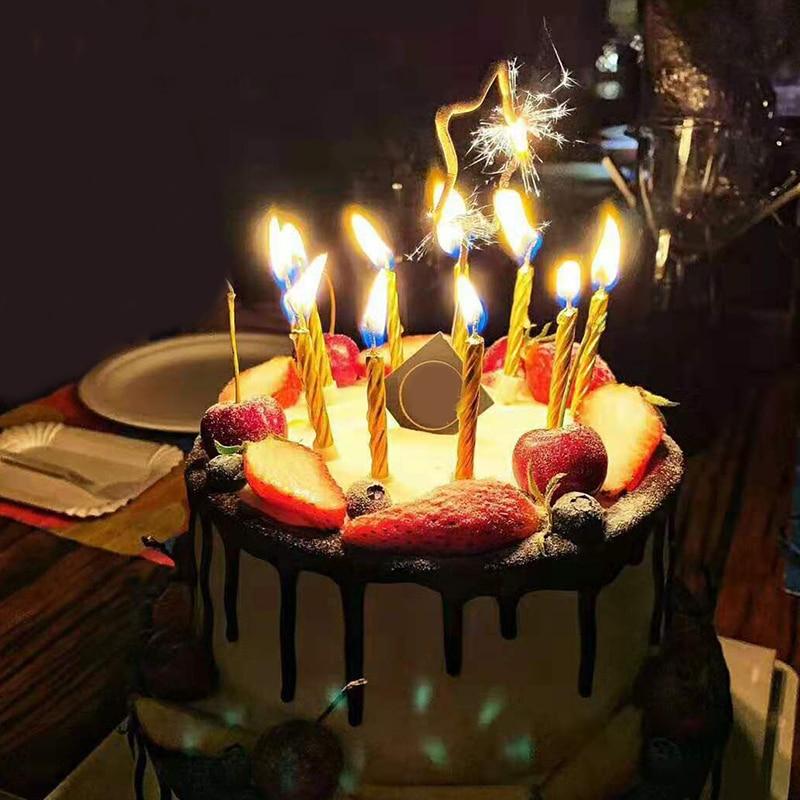 10 teile/schachtel Magie Nachfeuern Kerzen Lustige Trick Geburtstag Blowing Kerze Frech Party Witz Geschenk Kinder Geburtstag Kuchen Dekor
