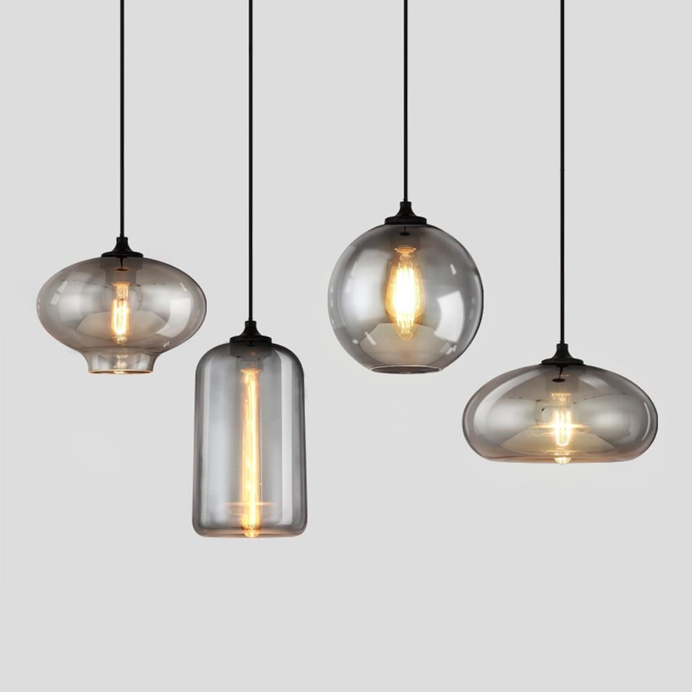 Lámpara colgante de cristal gris Retro Luz colgante Industrial Vintage para Bar escalera comedor E27 lámpara Edison iluminación