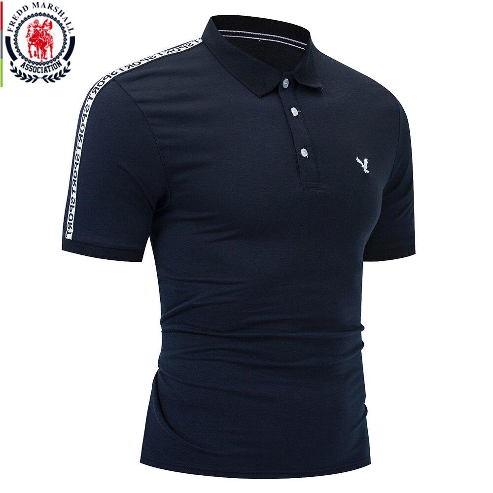 Рубашка-поло FREDD MARSHALL Мужская с короткими рукавами, Повседневная блуза из 2020 хлопка с вышивкой, однотонная блуза-поло, лето 100%