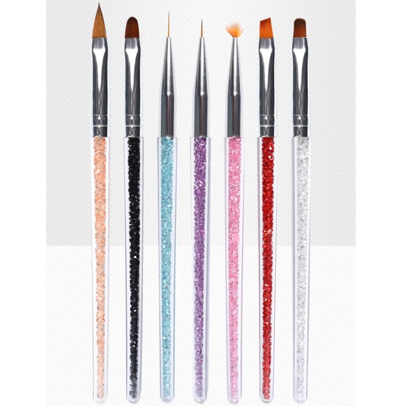 7Pcs Nail Art Brush Rhinestones Handle UV Gel Polish Nails Tips Liner Drawing Painting Pen 3d Gradient DIY Manicure Brushes Set
