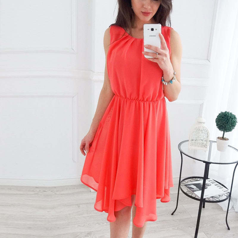 Fashion Bohemian Chiffon Beach Dress Sexy Sleeveless O-neck Vest Knee-Length Dresses 2020 Evening Party Sundress Black Vestidos
