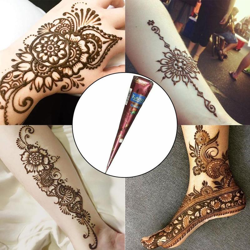 Tatuaje de Henna indio pasta negro marrón conos de Henna tatuaje temporal adhesivo decorativo para el cuerpo Natural pintura corporal tatuaje de Henna conos nuevo