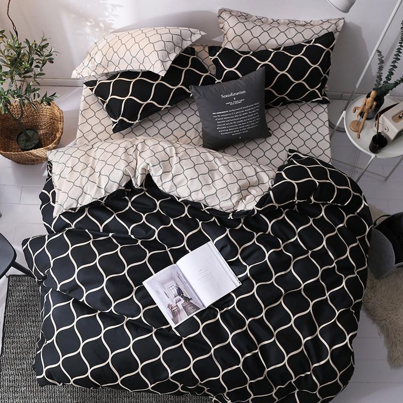 Juego de cama de lujo, juego de edredón extragrande, 3 uds., edredón de mármol de tamaño Queen, edredón negro, ropa de cama a rayas