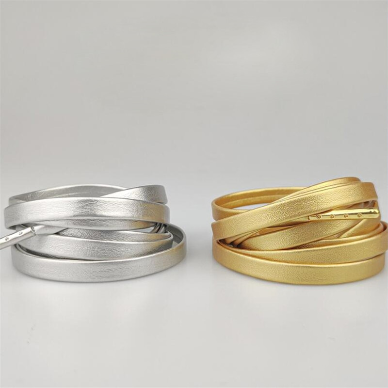Creative Microfiber Soft PU Leather Flat Silver Gold Shoelaces 120cm Women Men Sports Casual Basketb