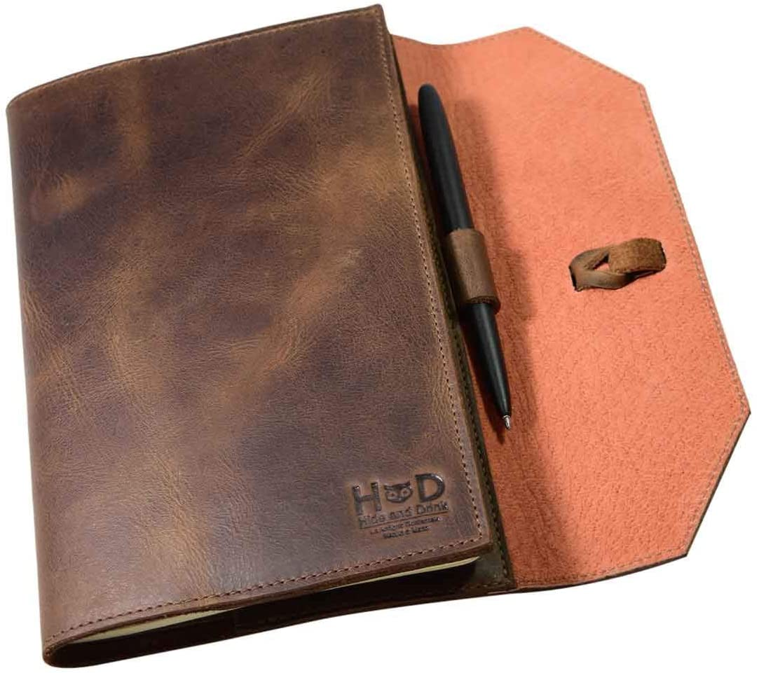 a5 Leather Notebook cover with Pen Holder for (5 X 8.25 In.) Notebooks / Journal Planner agenda notebook