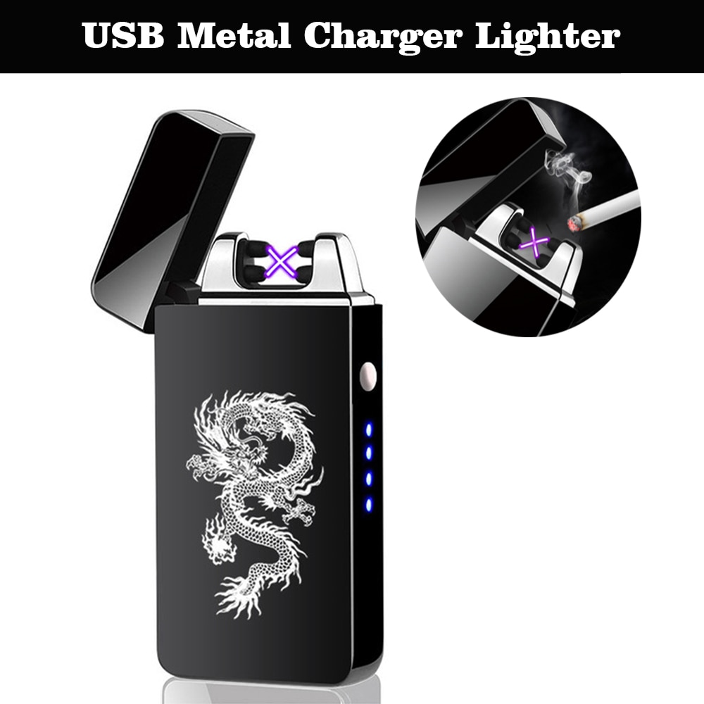 Windproof Electric Dual Arc Lighter USB Flameless Plasma Lighters Smoking For Cigarettes With LED Po