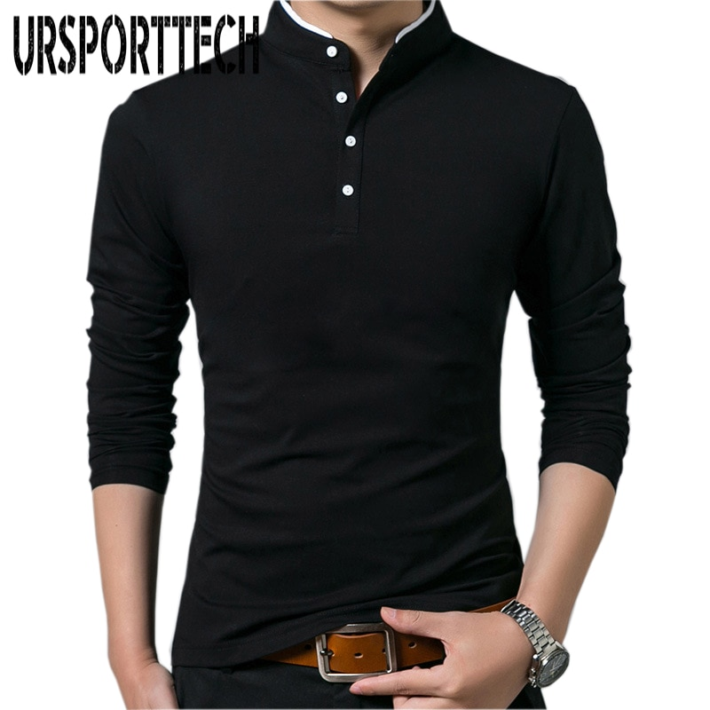 AliExpress - URSPORTTECH Solid Color T Shirt Men Long Sleeve Polo T Shirt for Men Casual Oversize Cotton Tops&tees Mandarin Collar Long Shirt