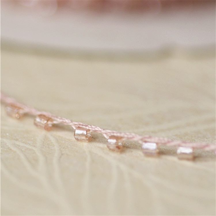 Encaje rosa de alta calidad de 1M, abalorios lentejuela tela para manualidades, costura con cuentas, Collar de cinta, cordón para vestido de boda, decoración de guipur
