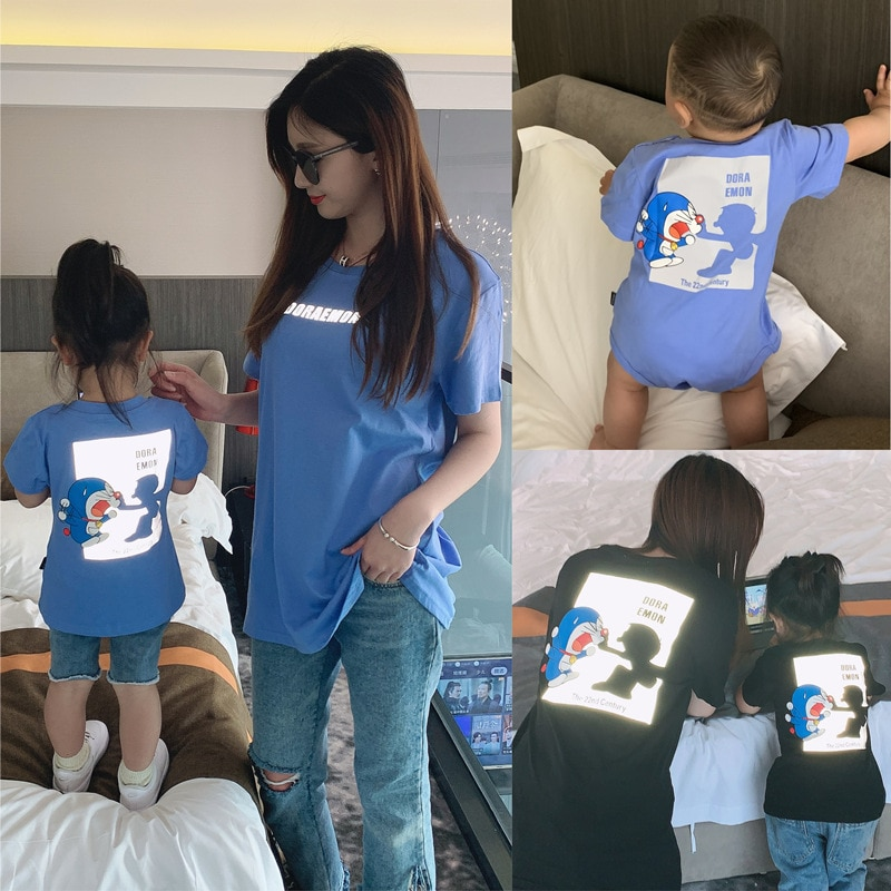 AliExpress - Family Matching Outfits Summer Short Sleeve Black Blue Reflective T-shirt Family Look Mother and Daughter for Baby Climb Clothes