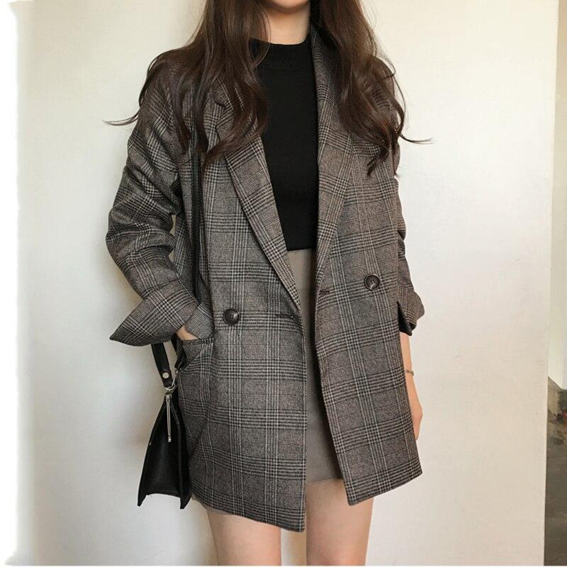women blazer plaid loose coat spring autumn clothing 7113#