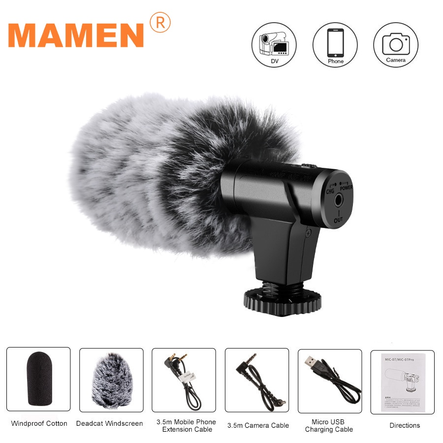 MAMEN 07/07Pro Microphone Metal Video Mic 3.5mm Plug for Huawei Smartphone for Canon Nikon Sony DSLR Camera Consumer Camcorder