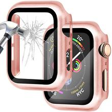 Cristal + cubierta para funda de Apple Watch de 44mm y 40mm, funda para iWatch de 42mm y 38mm, Protector de pantalla + parachoques para apple watch series 5, 4, 3, se, 6