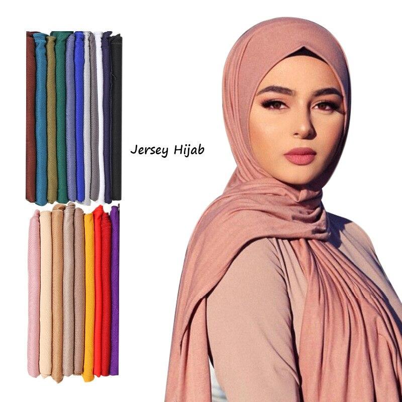 Plain Color Long Shawl Scarves Modal Jersey Hijab Muslim Headscarf Soft Black Women's Turban Tie Headband HeadWrap Lightweight