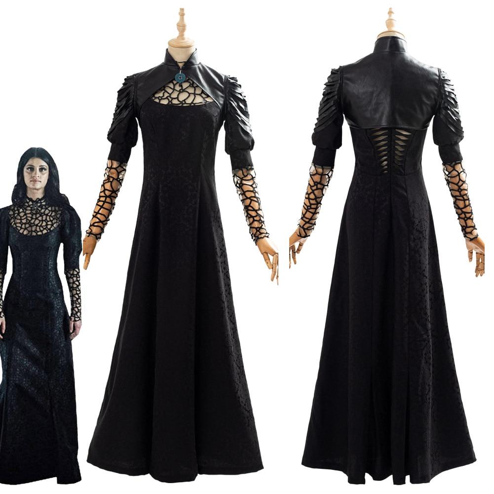 Yennefer تأثيري حلي سوداء حفلة فستان طويل الرأس المرأة أنثى هالوين أزياء تنكرية الزي الكبار
