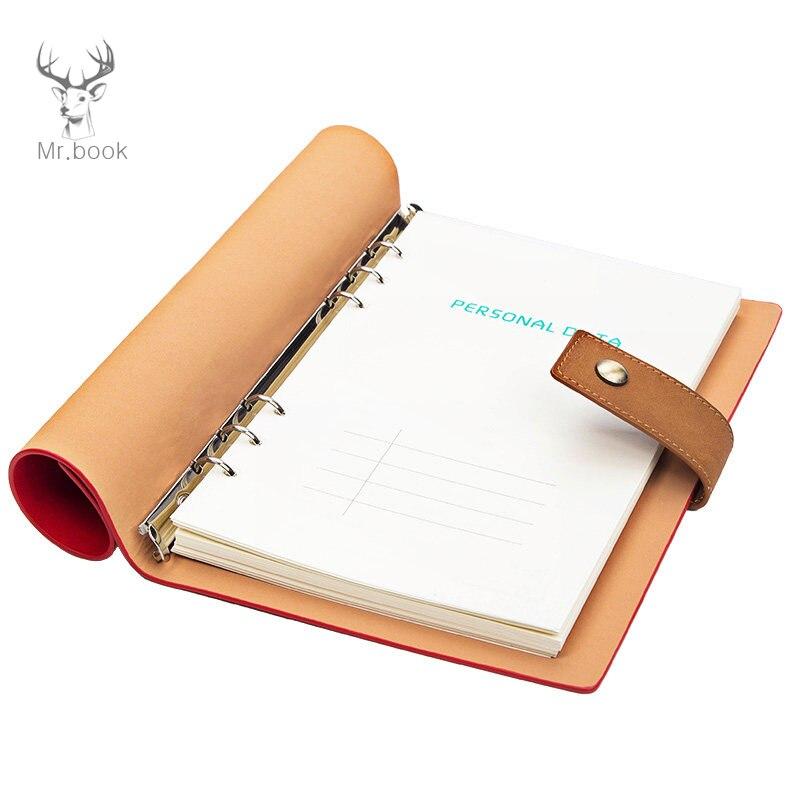 Caderno de couro do vintage do caderno do curso do caderno da folha solta-caderno de viagem para o negócio a5 do engrossamento das mulheres dos homens logotipo feito sob encomenda do caderno