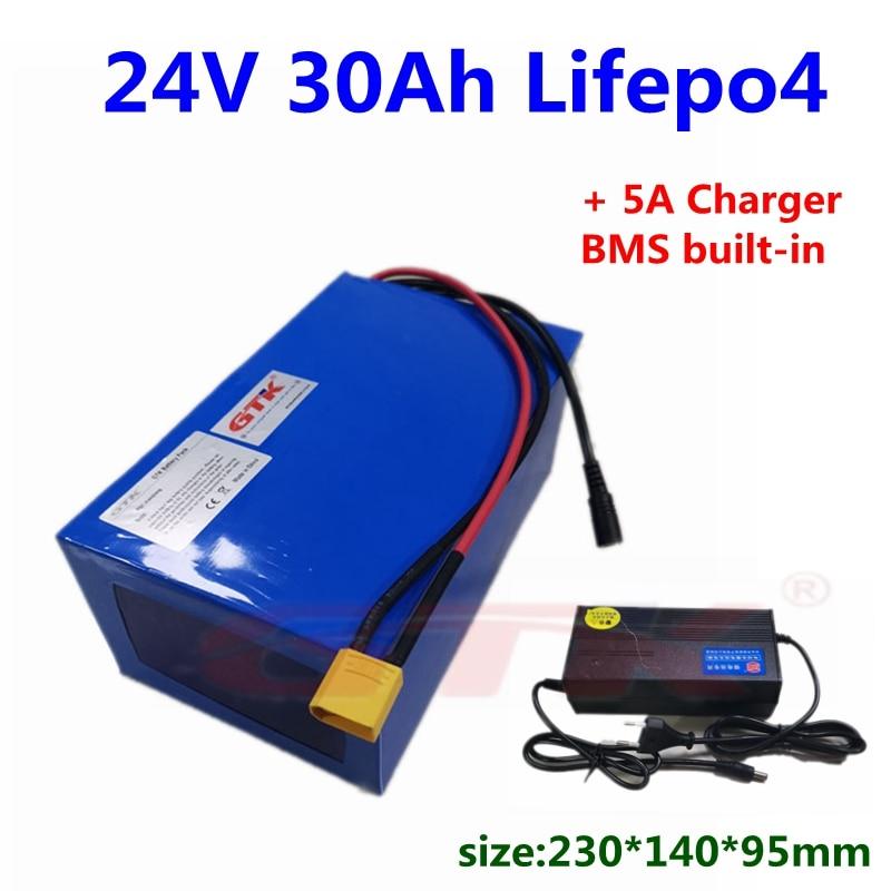 GTK lifepo4 24V 30Ah литиевый аккумулятор с bms 8s для электровелосипеда, скутера, мотоцикла, электровелосипеда + зарядное устройство 29,2 V 5A