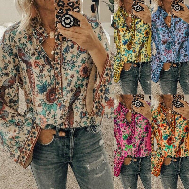Chiffon Bluse Plus Größe Bluse Shirt Casual Volle Floral V-ausschnitt Riverdale Crop Top Frauen Shein Ropa Mujer Vetement Femme