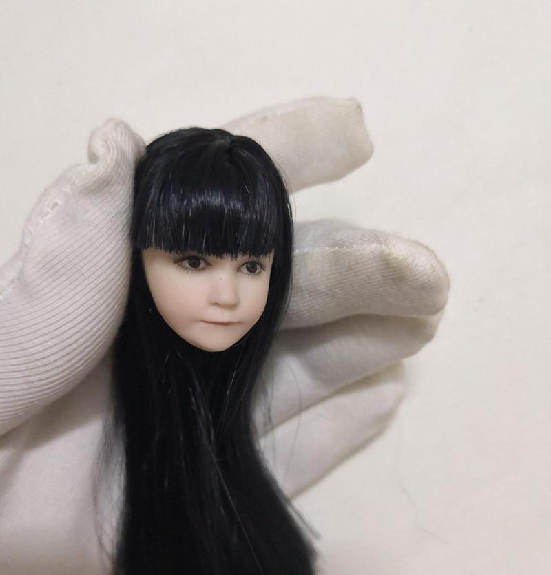 1/6 Lovely  Long Black Hair Asia Little Cute Girl Head For 12