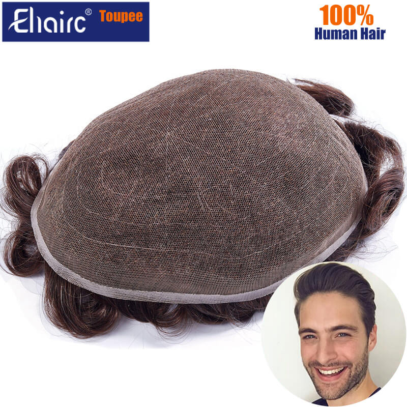 Men Toupee Full Lace Base Men's Capillary Male Hair Prothesis Men's Wig Breathable Hair Replacement Systems Wigs Pieces For Man