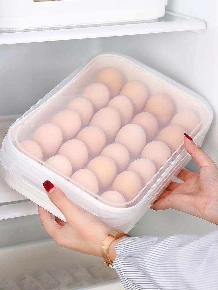 Multi-capa de huevo caja de almacenamiento de refrigerador contenedor de almacenamiento de caja de plástico comida albóndigas hermético organizador de cocina para el hogar