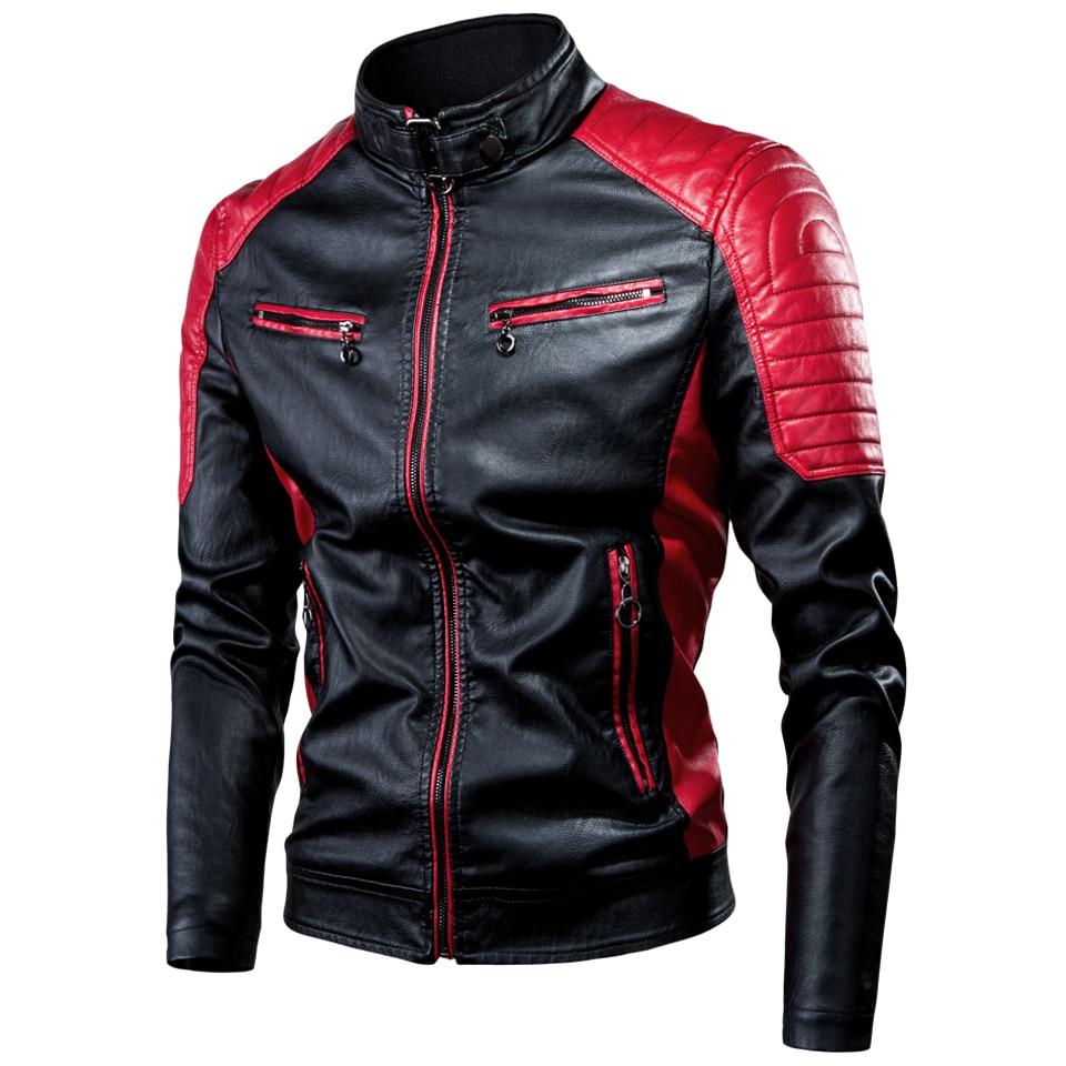 Oumor Men 2021 Spring Casual Motor Spliced Leather Jacket Coat Men Autumn Fashion Biker Vintage Warm Leather Jacket Coat Men