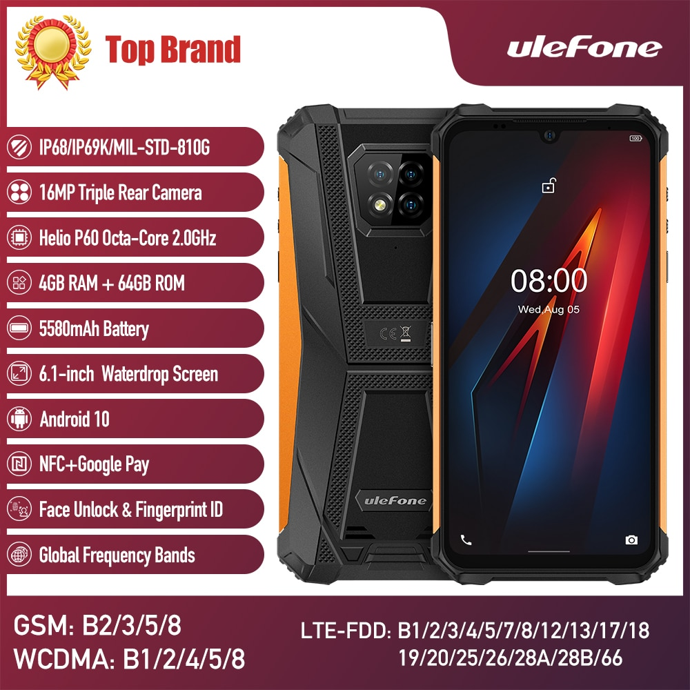 Перейти на Алиэкспресс и купить Ulefone Armor 8 смартфон 5G Wifi Adroid 10 прочный мобильный телефон Восьмиядерный 6,1 дюйма водонепроницаемый Helio P60 4 Гб 64 Гб мобильный телефон
