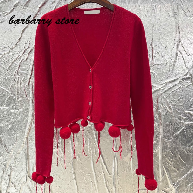 2021 luxury design high-end wool ball decoration hem fashion cardigan temperament versatile V-Neck long sleeve knitted coat