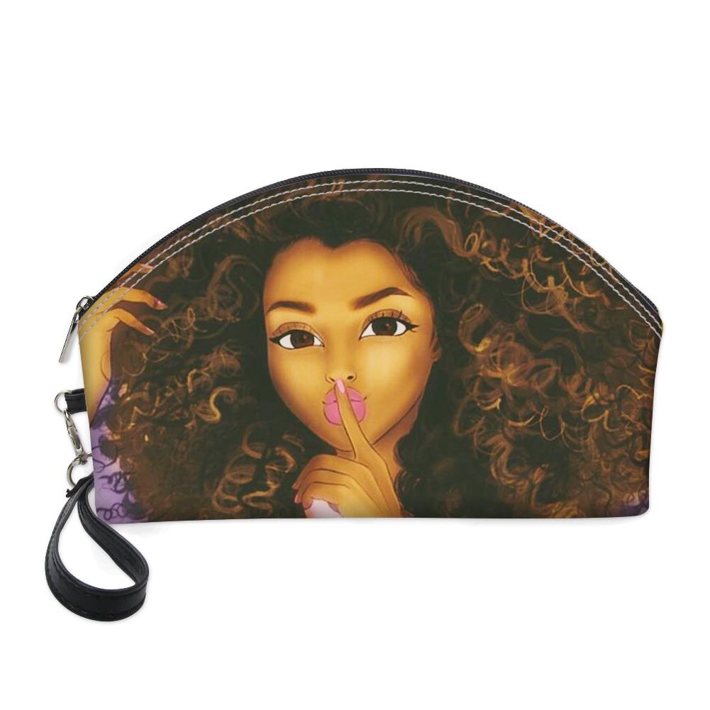 Модные женские косметички HaoYun из искусственной кожи, стильные сумочки для косметики на молнии с принтом для африканских девушек, портативн...