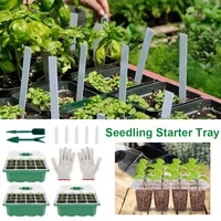 12 cell seedling starter tray adjustable plant starter kit with dome and base greenhouse grow trays for growing starting