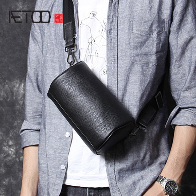 AETOO Head cowhide single shoulder crossbody bag male leather handmade chest bag casual fashion bucket bag aetoo handmade leather wallet head layer cowhide money clip simple design male and female general