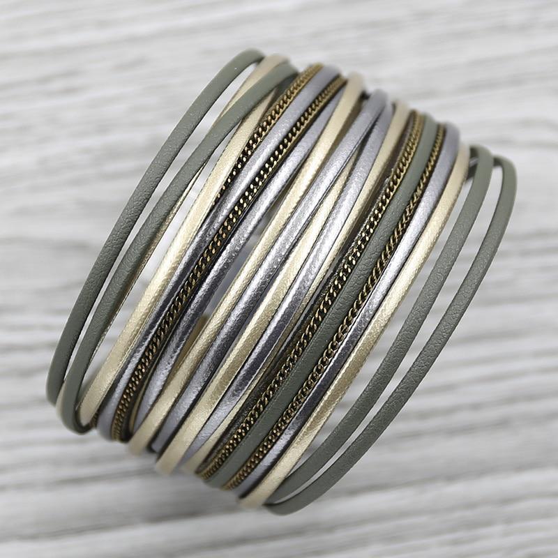 Strathspey schwarz leder armband für frauen 2020 böhmischen feder armbänder strass breites armband conch vintage schmuck