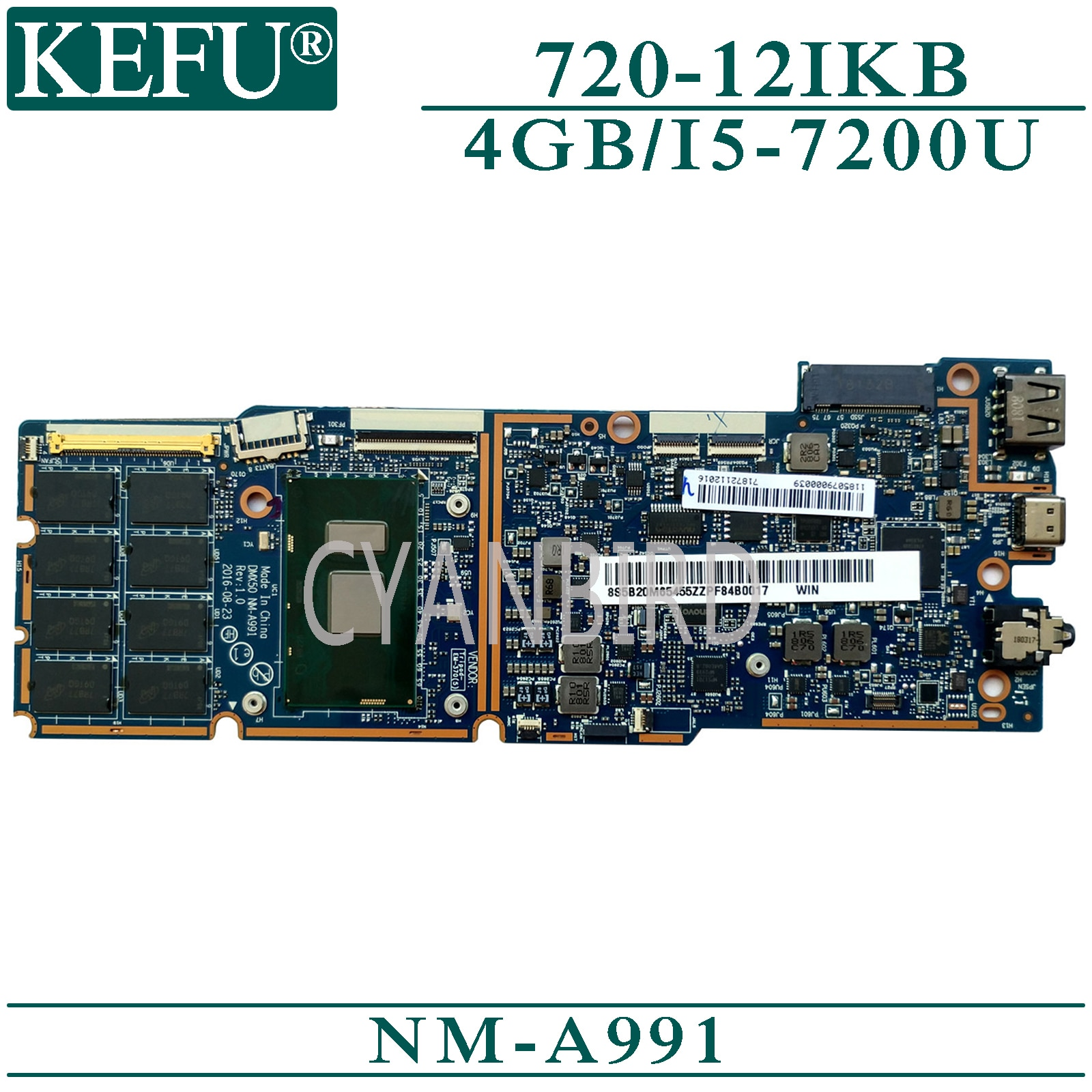 KEFU NM-A991 placa madre original para Lenovo mimix 720-12IKB con 4GB-RAM I5-7200U placa base para ordenador portátil