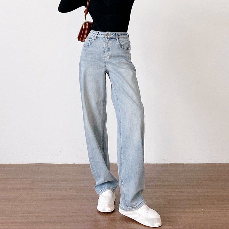 wide leg jeans for women blue loose pants high waist casual large size straight pants boyfriend straight mom jeans streetwear Baggy Jeans Women High Waist Fashion Mom Jeans Boyfriend Pants Straight Leg Trousers France Elegant Streetwear Blue Washed Jeans