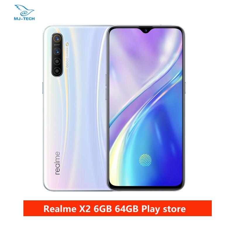 Realme x2 6g 64g snapdragon 730g 64mp câmera 6.4 ntela cheia nfc oppo celular vooc 30w carregador rápido moblie telefone