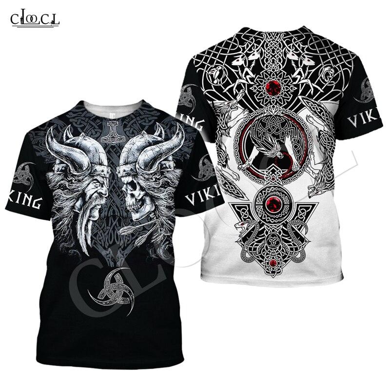 Vikingo tatuaje de calavera T camisa mujeres hombres piratas 3D imprimir camiseta Cosplay vikingos rey de manga corta ropa de calle Tops informales