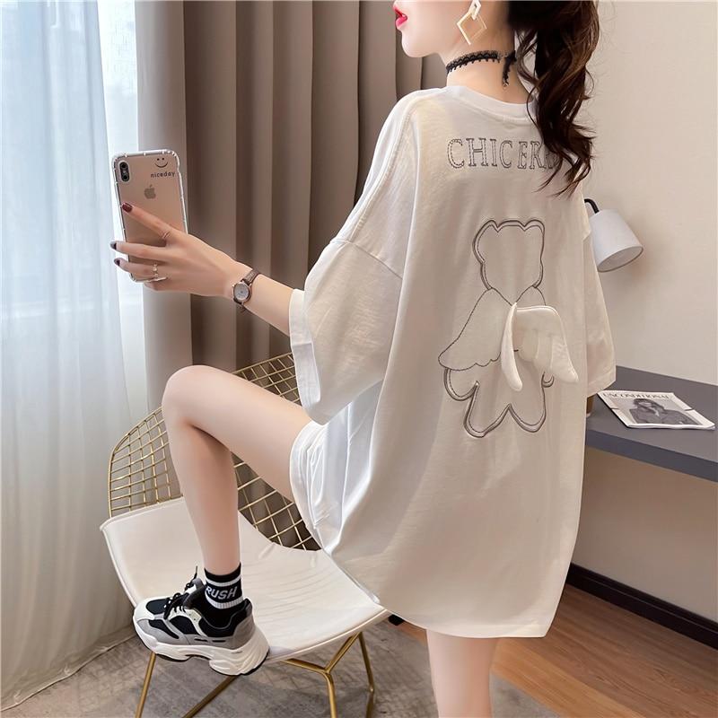 Tshirt Large Size Women's Summer Wings Design Short-Sleeved T-shirt Women's Black Loose Korean Style