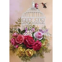 5d diy diamond painting full squareround drill bird cage flowers3d rhinestone embroidery cross stitch gift home decor gift